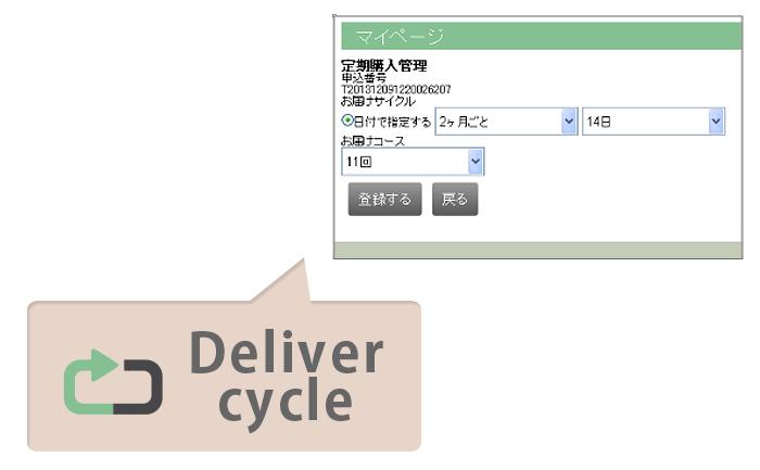 お届けサイクルの変更もマイページや管理画面で設定可能