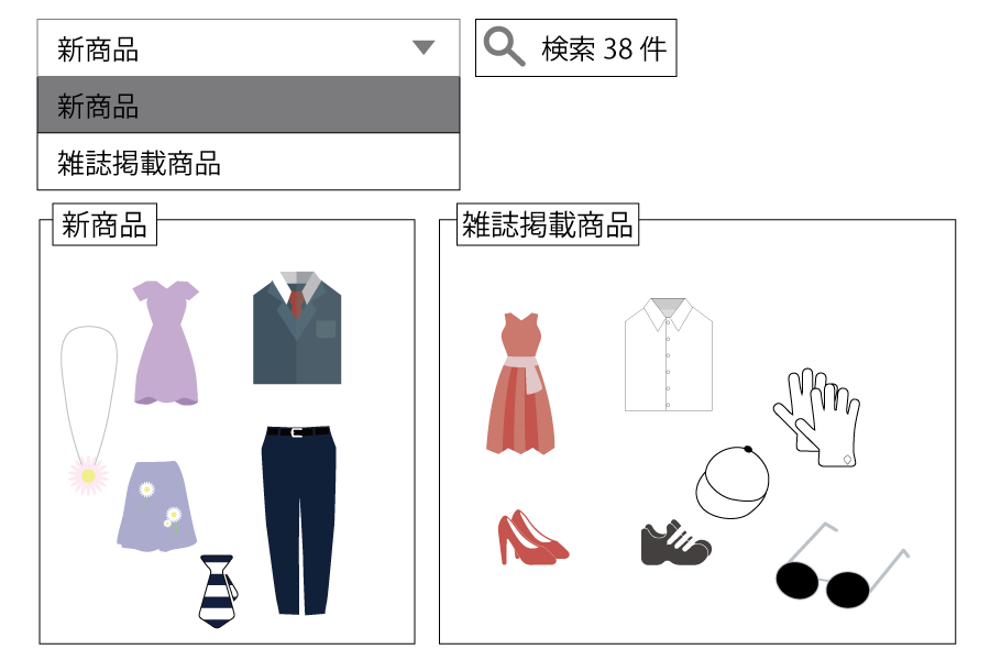 商品に自由に設定したタグでも検索が可能